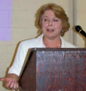 Citizen watchdog Liz Benneian speaks last summer at public meeting in Thorold community of Port Robinson about incinerator proposal. File photo by Doug Draper