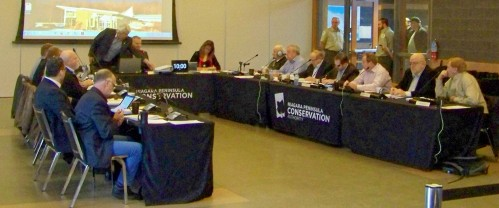 The Niagara Peninsula Conservation Authority's board holding a meeting this ;past January. Photo by Doug Draper