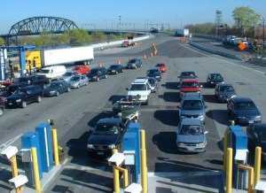 Traffic lining up at inspection booths at Peace Bridge border crossing.