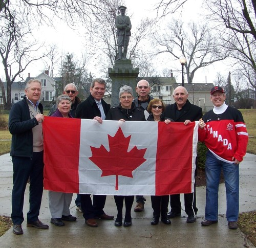 At a flag raising ceremony in Thorold/Niagara this past February 24th, from left, Thorold community leaders Terry Ugulini, Lora Vary, Mike, Charron, Niagara Centre MP Vance Badawey, Elaine Damico, Fred Neale, Teresa Mikza, Tim Whalen and Bill Foote