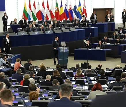 Trudeau-speaking-to-european-parliament-from-pm-website-day-before-feb-16-in-Strasburg,-France