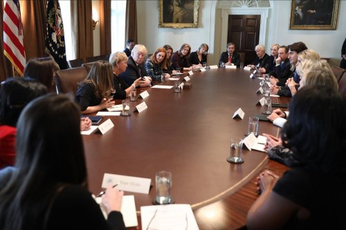 Trump and Trudeau participate in a roundtable at White House with women executives.