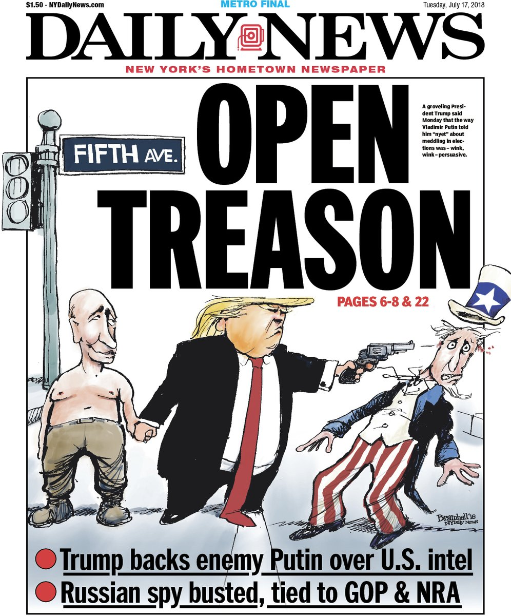 New York Daily News Cover: Charging Trump With Treason
