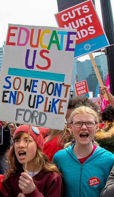 ford  ontarios young people  sucker punch  cuts  student assistance niagara